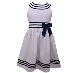 Bonnie Jean White U-Neck Sailor Dress w/ Banded Waist and Hem Plus - Big Kid