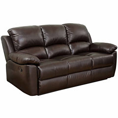 Paisley Leather Pad-Arm Reclining Sofa
