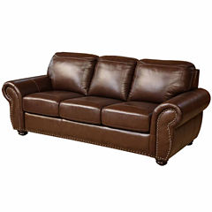 Alexa Leather Roll-Arm Sofa