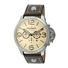 Peugeot® Mens Brown Leather Strap Big Number Automatic Watch