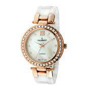 Peugeot® Womens White Ceramic T-Bar Bracelet Watch
