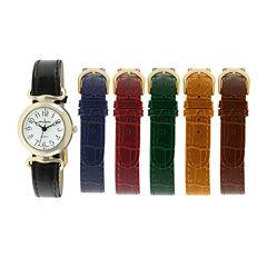 Peugeot® Womens Interchangeable 6-Strap Silver-Tone Case Watch Set