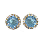 Genuine Swiss Blue Topaz and Lab-Created White Sapphire Halo Earrings