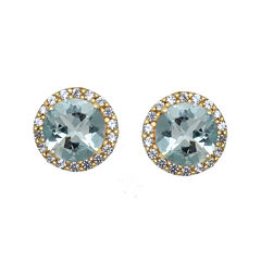 Genuine Aquamarine and White Sapphire 10K Yellow Gold Halo Earrings