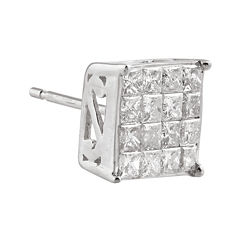 1/4 CT. T.W. Diamond 10K White Gold Half Stud Earring