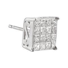 3/8 CT. T.W. Diamond 10K White Gold Half Stud Earring