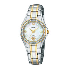 Pulsar® Womens Crystal-Accent Two-Tone Stainless Steel Bracelet Watch PXT798