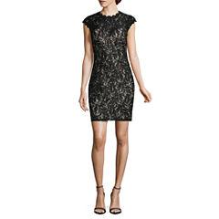 My Michelle Short Sleeve Sequin Bodycon Dress-Juniors