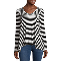 Trixxi Long Sleeve V Neck Blouse-Juniors