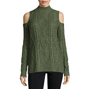 Freshman Long Sleeve Round Neck Cold Shoulder Cable Pullover Sweater-Juniors
