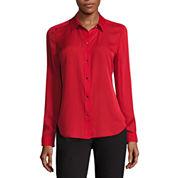 Liz Claiborne Long Sleeve Button-Front Blouse