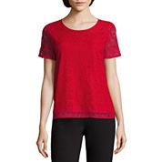 Liz Claiborne Short Ruffle Sleeve Crew Neck Lace T-Shirt