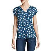 Liz Claiborne Short Sleeve Button-Front Shirt
