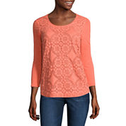 Liz Claiborne 3/4 Sleeve Crew Neck T-Shirt