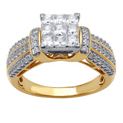 tw princess diamond engagement ring in 10k yellow gold - Jcpenney Jewelry Wedding Rings