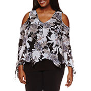 by&by Long Sleeve V Neck Chiffon Blouse-Juniors Plus