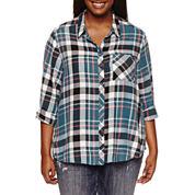 Arizona Long Sleeve Boyfriend Plaid-Juniors Plus
