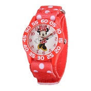 Disney Minnie Mouse Kids Red Printed Nylon Strap Watch