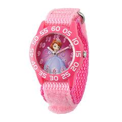 Disney Sofia the First Kids Pink Nylon Strap Watch