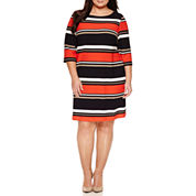 Studio 1 3/4 Sleeve Sheath Dress-Plus
