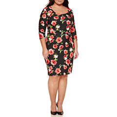 Bisou Bisou 3/4 Sleeve Floral Sheath Dress-Plus