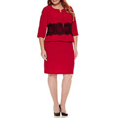 Danny & Nicole 3/4 Sleeve Lace Jacket Dress-Plus