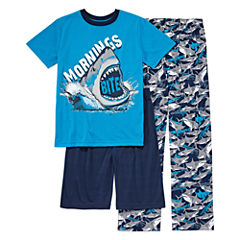 Arizona 3-pc.Shark Short Sleeve-Big Kid Boys