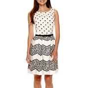 Danny & Nicole® Sleeveless Polka Dot Fit-and-Flare Dress - Petite