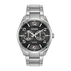 Citizen® Eco-Drive® Mens Black Dial Stainless Steel Watch AO9020-84E