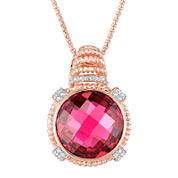 LIMITED QUANTITIES!  14K Rose Gold over Silver Glass-Filled Ruby and Lab-Created White Sapphire Pendant