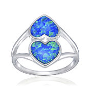 Simulated Blue Opal Sterling Silver Heart Ring