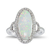Simulated Opal and Cubic Zirconia Sterling Silver Ring