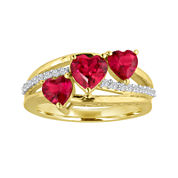 Lab-Created Ruby and White Sapphire 14K Gold Over Sterling Silver Ring