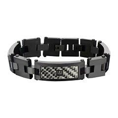 Mens Black Stainless Steel Diamond-Accent Bracelet
