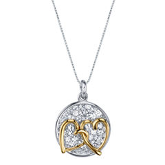Inspired Moments Two-Tone Sterling Silver Crystal Inspirational Double Hearts Pendant Necklace