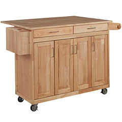 Wood-Top Drop-Leaf Rolling Kitchen Island with Towel Rack