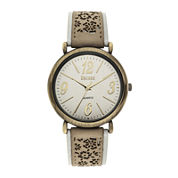 Decree® Womens Floral Cutout Strap Watch