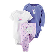 Carter's® 3-pc. Long-Sleeve Bodysuit and Pants Set - Baby Girls newborn-24m