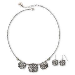 Liz Claiborne Marcasite Square Medallion Necklace & Drop Earrings Boxed Set