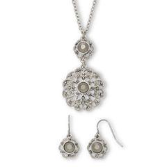Liz Claiborne® Gray & Silver-Tone Flower Pendant Earring & Necklace Set