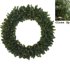 6 Ft. Pre-Lit Commercial Size Canadian Pine Artificial Christmas Wreath with Multi-Color Lights