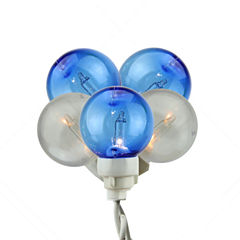 Set of 100 Blue & White G30 Globe Icicle Christmas Lights with White Wire