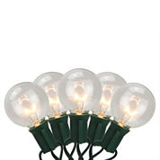 Set of 20 Clear Transparent G50 Globe Patio Wedding Christmas Lights with Green Wire