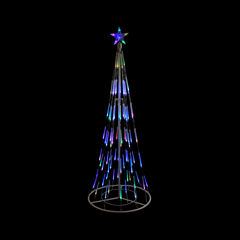 6' White Double Tier Bubble Cone Christmas Tree Lighted Yard Art - Multi Lights