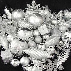125 Piece Club Pack Of Shatterproof Silver Splendor Ornaments