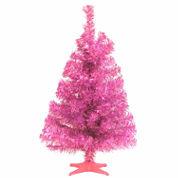 National Tree Co. 2 Foot Pink Tinsel Christmas Tree