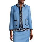Black Label by Evan-Picone 3/4 Sleeve Contrast Trim Suit Jacket