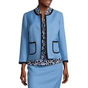 Black Label by Evan-Picone 3/4 Sleeve Contrast Trim Jacket with Sleeveless Print Bow Blouse and Contrast Trim Pencil Skirt