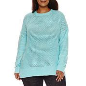 Stylus Long Sleeve Crew Neck Pullover Sweater-Plus