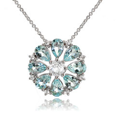 Fine Jewelery Womens 18 Inch Blue Topaz Sterling Silver Link Necklace